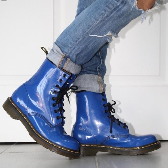 Dr Martens Blue Patent Airwair Combat Boots